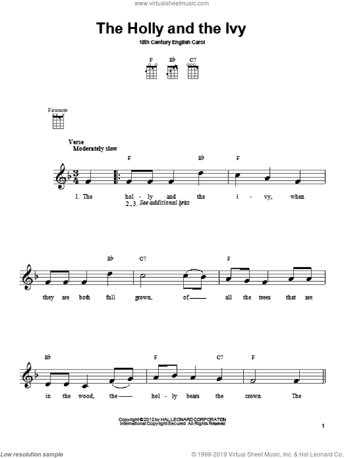 The Holly And The Ivy sheet music for ukulele by Anonymous and Miscellaneous, intermediate skill level
