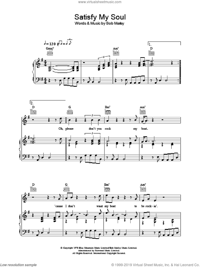 Satisfy My Soul sheet music for voice, piano or guitar by Bob Marley, intermediate skill level