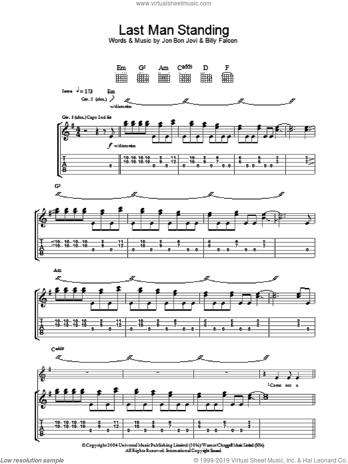 Last Man Standing sheet music for guitar (tablature) by Bon Jovi and Billy Falcon, intermediate skill level