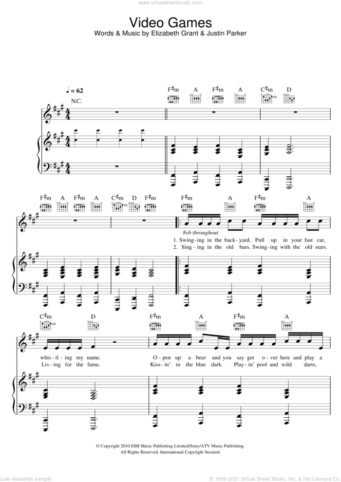 Video Games sheet music for voice, piano or guitar by Lana Del Rey, Elizabeth Grant and Justin Parker, intermediate skill level