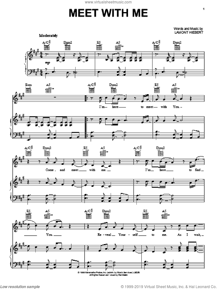 Meet With Me sheet music for voice, piano or guitar by Ten Shekel Shirt and Lamont Hiebert, intermediate skill level