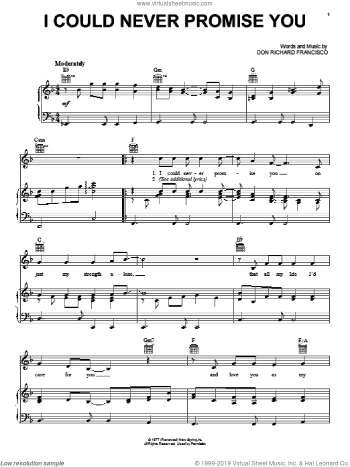 I Could Never Promise You sheet music for voice, piano or guitar by Don Richard Francisco, intermediate skill level