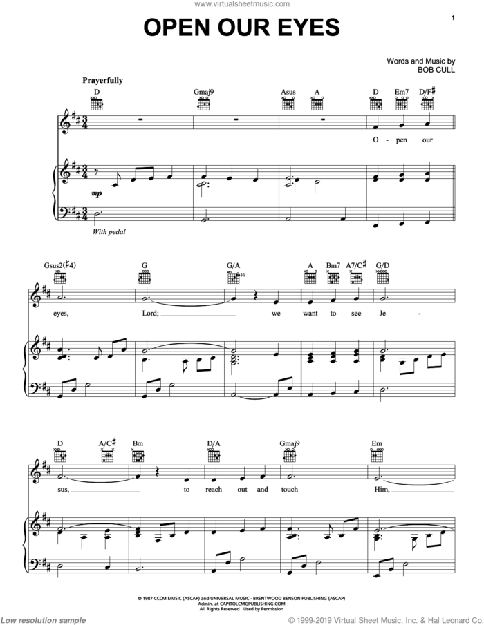 Open Our Eyes sheet music for voice, piano or guitar by Bob Cull, intermediate skill level