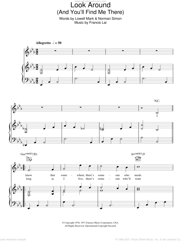 Look Around (And You'll Find Me There) sheet music for voice, piano or guitar by Vince Hill, Francis Lai, Lowell Mark and Norman Simon, intermediate skill level