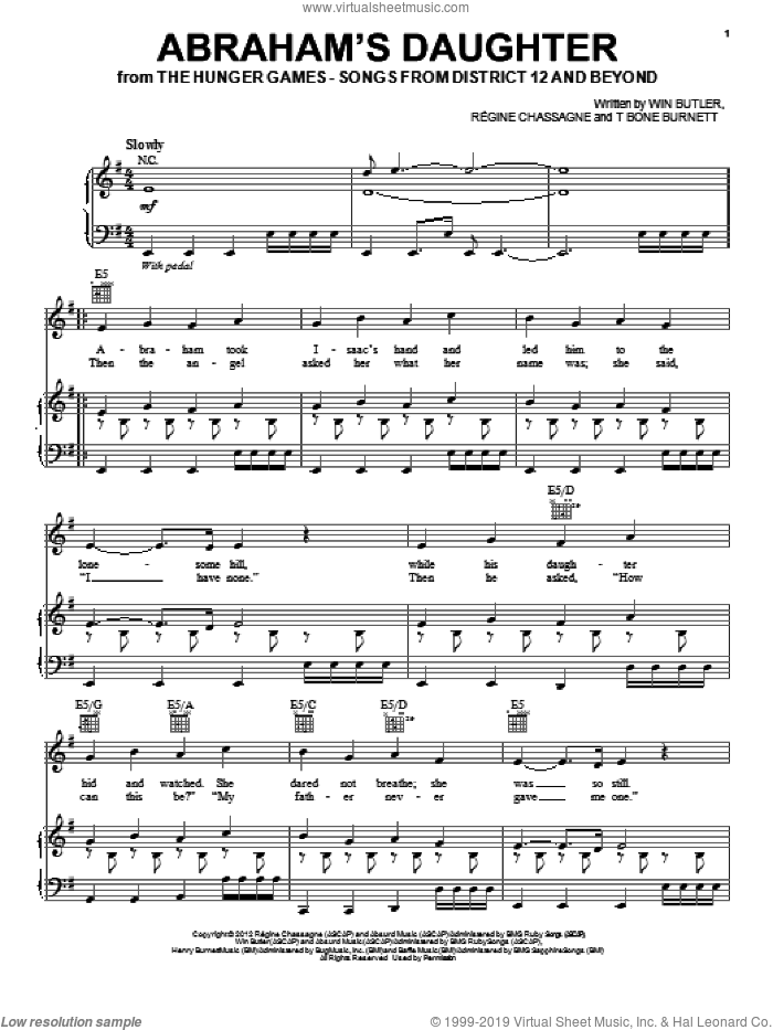 Abraham's Daughter sheet music for voice, piano or guitar by Arcade Fire, Hunger Games (Movie), Regine Chassagne, T-Bone Burnett and Win Butler, intermediate skill level