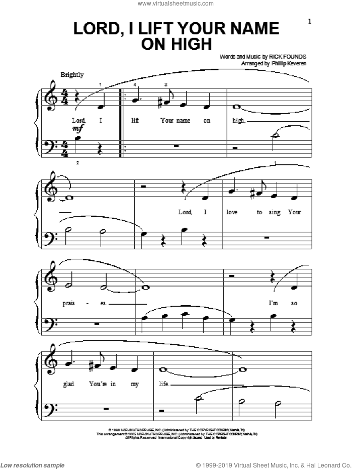 Lord, I Lift Your Name On High (arr. Phillip Keveren) sheet music for piano solo (big note book) by Phillip Keveren and Rick Founds, easy piano (big note book)