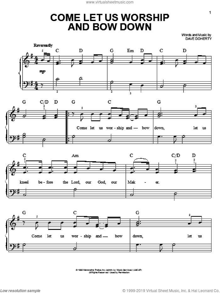Come Let Us Worship And Bow Down sheet music for piano solo by Dave Doherty, easy skill level