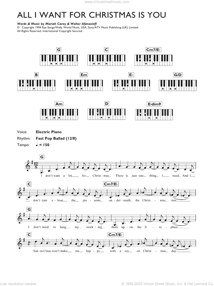 All I Want For Christmas Is You sheet music for voice and other instruments (fake book) by Mariah Carey and Walter Afanasieff, intermediate skill level