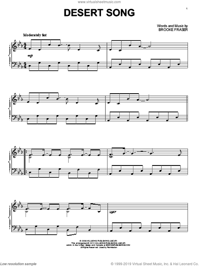 Desert Song sheet music for piano solo by Hillsong United and Brooke Fraser, intermediate skill level