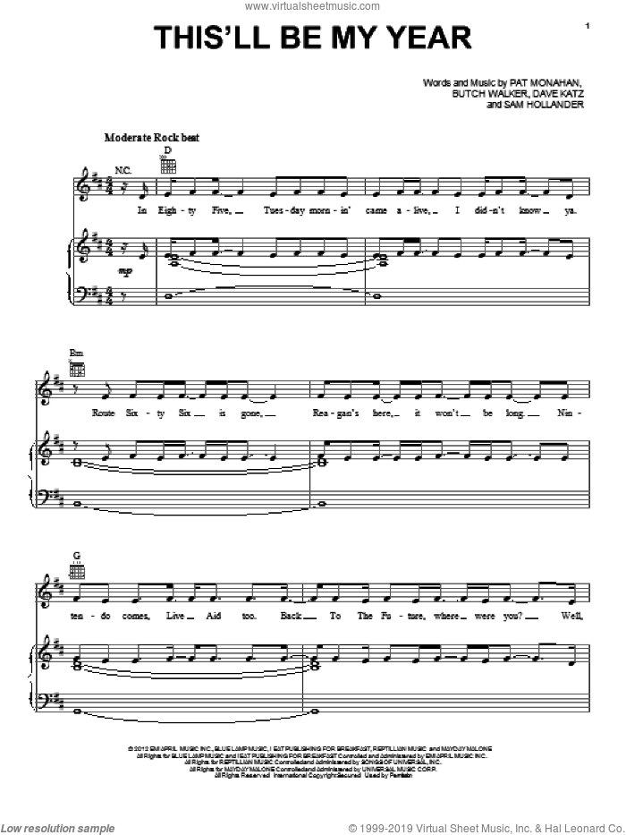 This'll Be My Year sheet music for voice, piano or guitar by Train, Butch Walker, Dave Katz, Pat Monahan and Sam Hollander, intermediate skill level