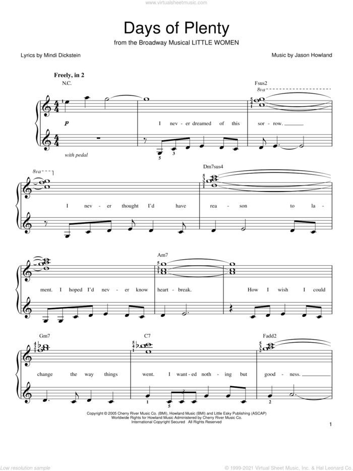 Days Of Plenty sheet music for piano solo by Mindi Dickstein, Little Women (Musical) and Jason Howland, easy skill level