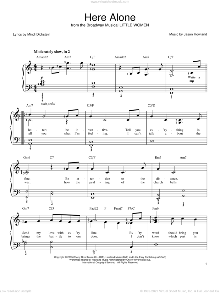 Here Alone sheet music for piano solo by Mindi Dickstein, Little Women (Musical) and Jason Howland, easy skill level