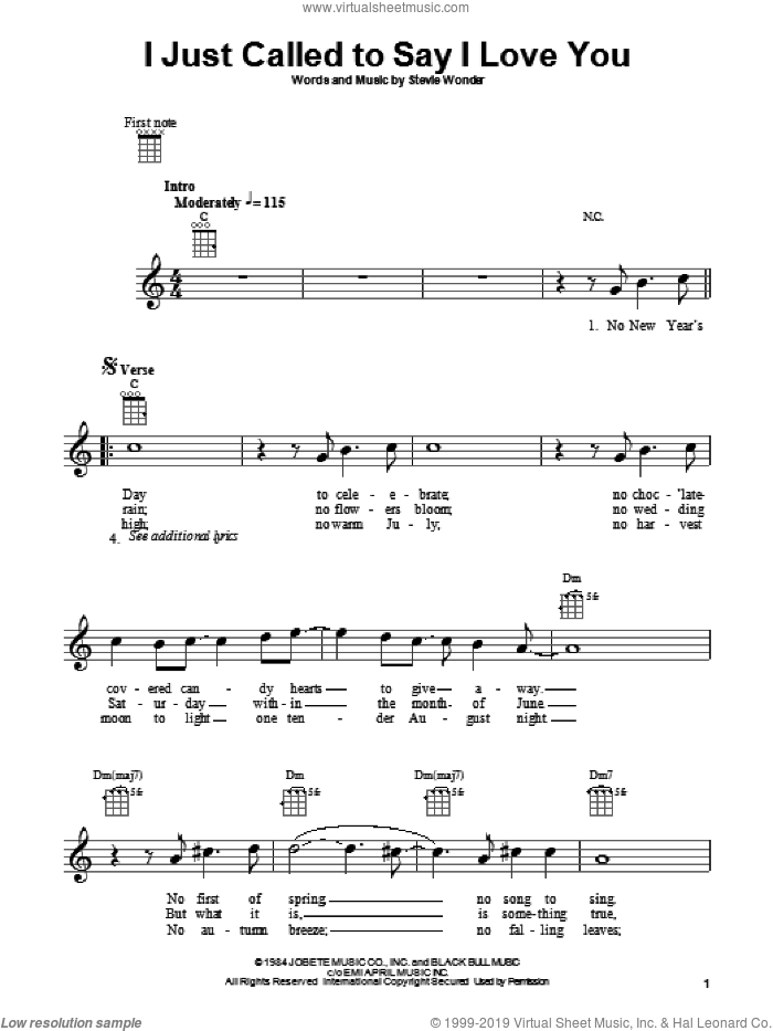 I Just Called To Say I Love You sheet music for ukulele by Stevie Wonder, intermediate skill level