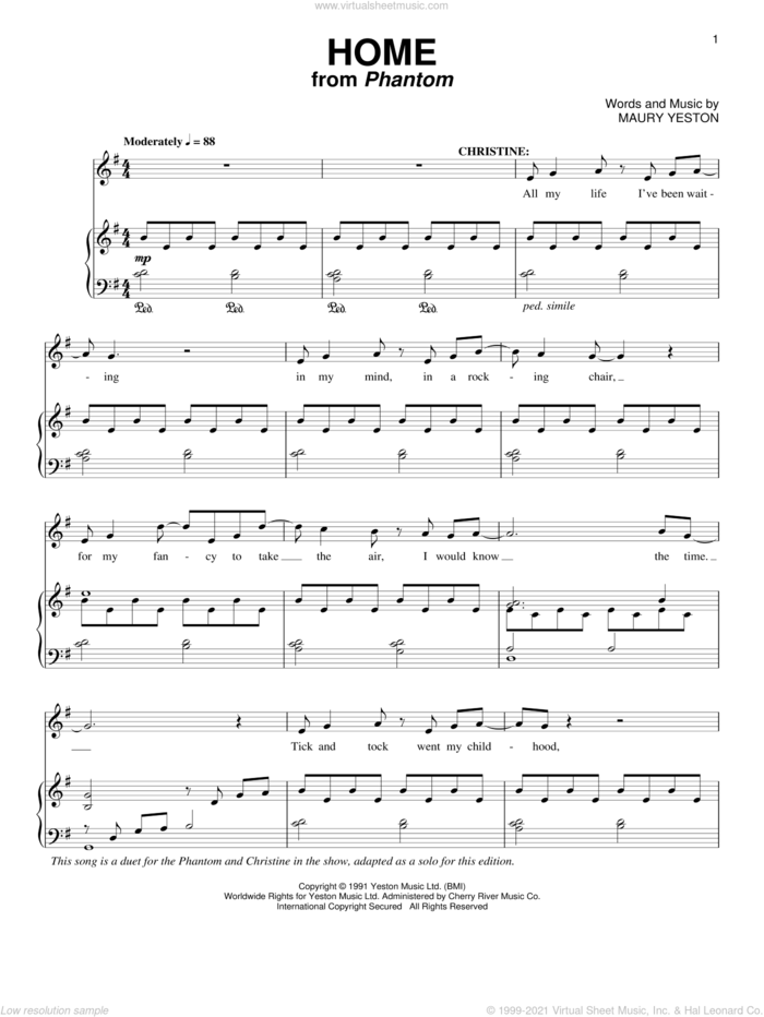 Home sheet music for voice and piano by Maury Yeston, intermediate skill level