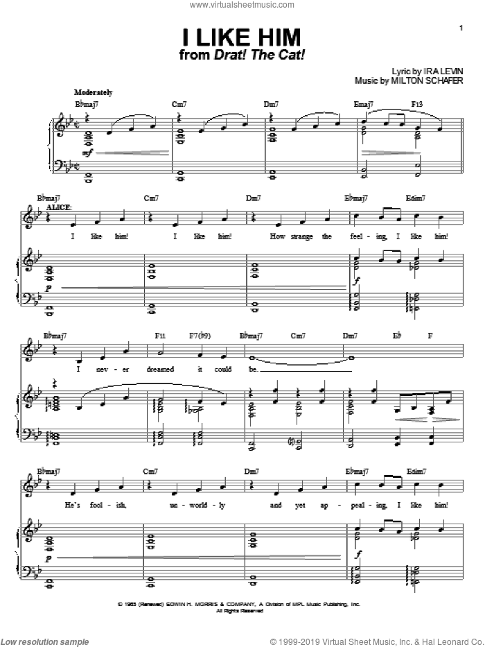I Like Him sheet music for voice and piano by Ira Levin and Milton Schafer, intermediate skill level