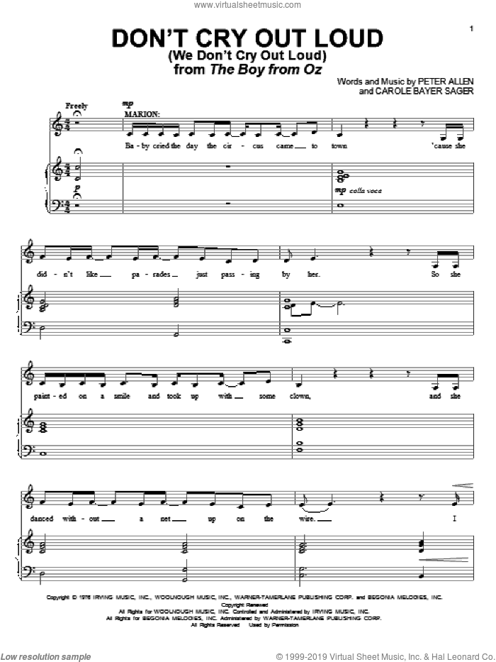 Don't Cry Out Loud (We Don't Cry Out Loud) sheet music for voice and piano by Melissa Manchester, The Boy From Oz (Musical), Carole Bayer Sager and Peter Allen, intermediate skill level