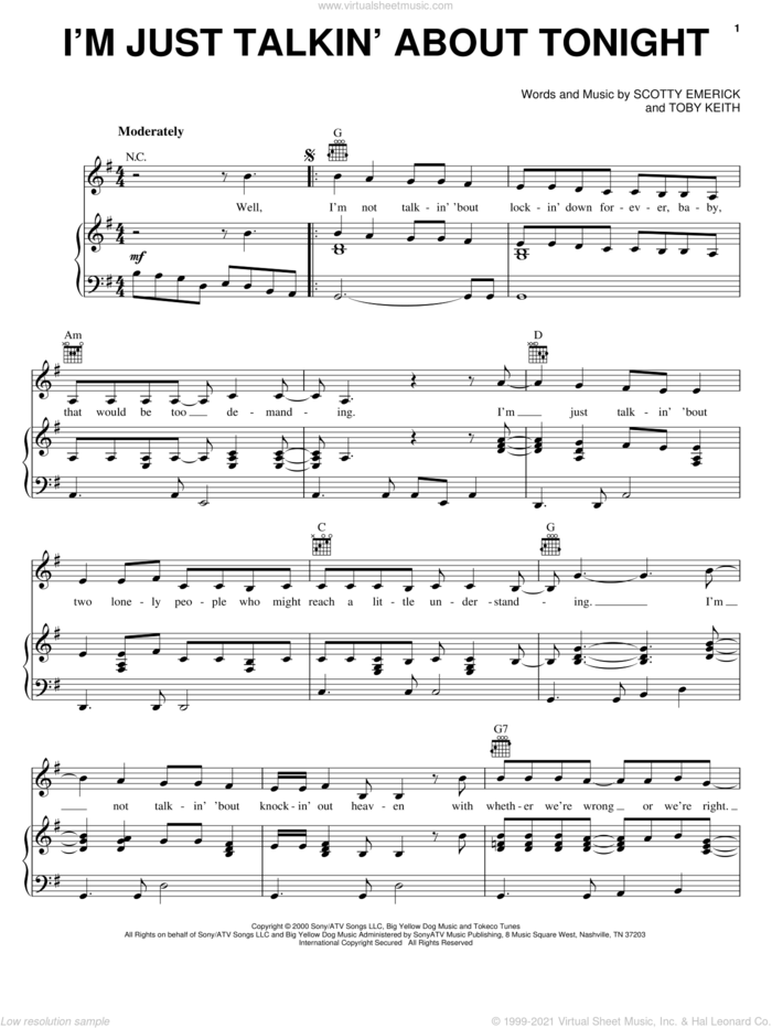 I'm Just Talkin' About Tonight sheet music for voice, piano or guitar by Toby Keith and Scotty Emerick, intermediate skill level
