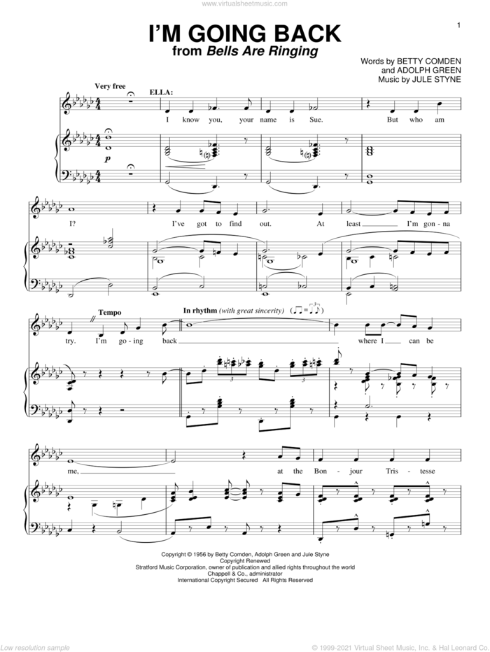 I'm Going Back sheet music for voice and piano by Betty Comden, Adolph Green and Jule Styne, intermediate skill level