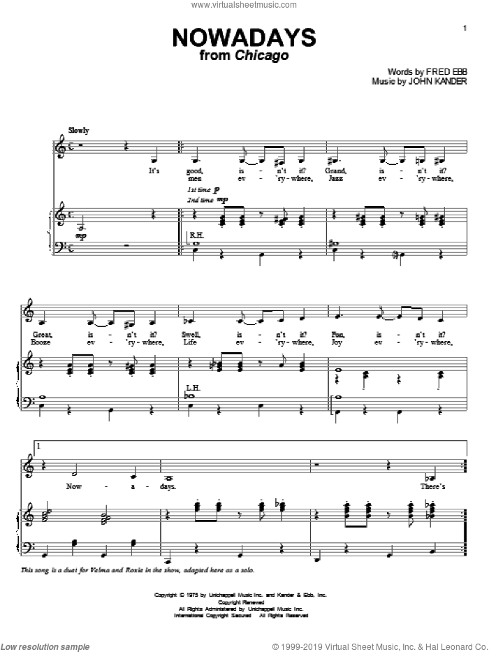 Nowadays sheet music for voice and piano by Kander & Ebb, Fred Ebb and John Kander, intermediate skill level