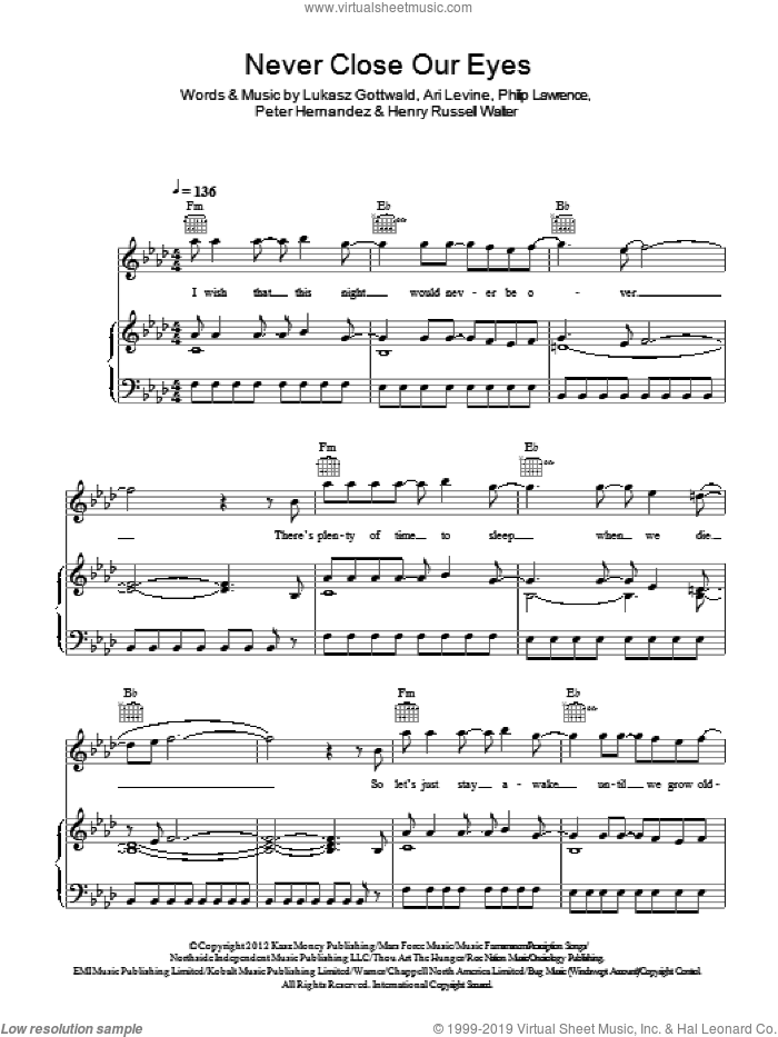 Never Close Our Eyes sheet music for voice, piano or guitar by Adam Lambert, Ari Levine, Henry Russell Walter, Lukasz Gottwald, Peter Hernandez and Philip Lawrence, intermediate skill level
