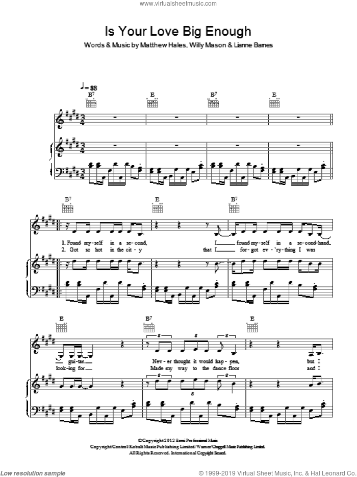 Is Your Love Big Enough sheet music for voice, piano or guitar by Lianne La Havas, Lianne Barnes, Matthew Hales and Willy Mason, intermediate skill level
