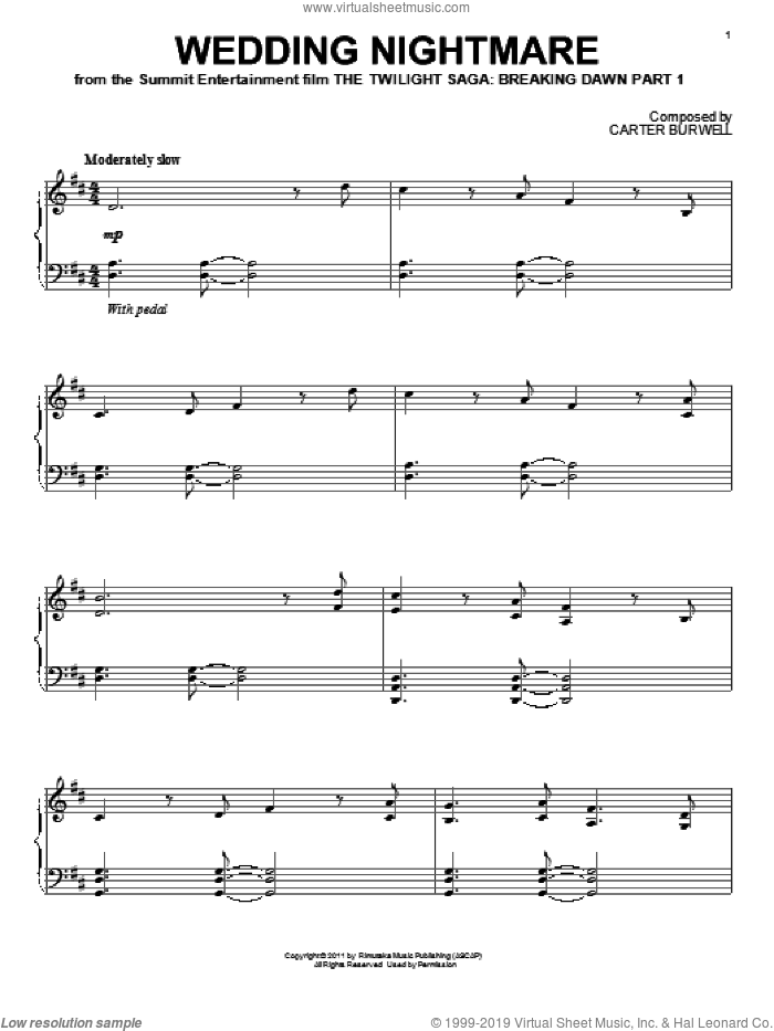 Wedding Nightmare sheet music for piano solo by Carter Burwell and Twilight: Breaking Dawn Part 1 (Movie), intermediate skill level