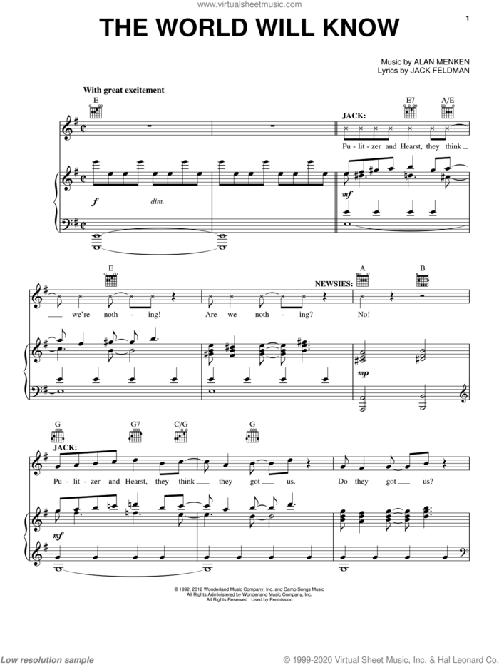 The World Will Know sheet music for voice, piano or guitar by Alan Menken and Jack Feldman, intermediate skill level