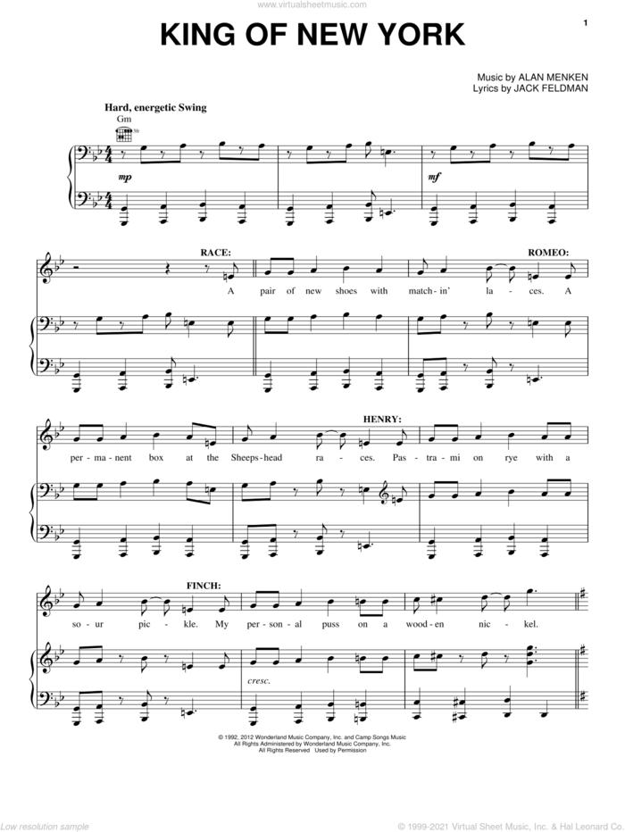 King Of New York sheet music for voice, piano or guitar by Alan Menken and Jack Feldman, intermediate skill level
