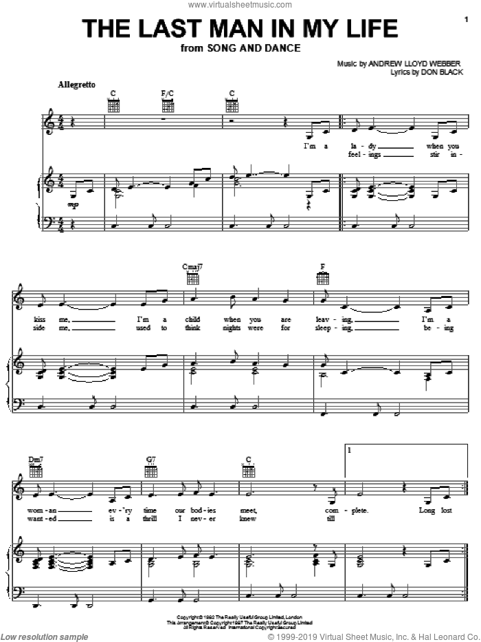 The Last Man In My Life sheet music for voice, piano or guitar by Andrew Lloyd Webber, Song And Dance (Musical) and Don Black, intermediate skill level