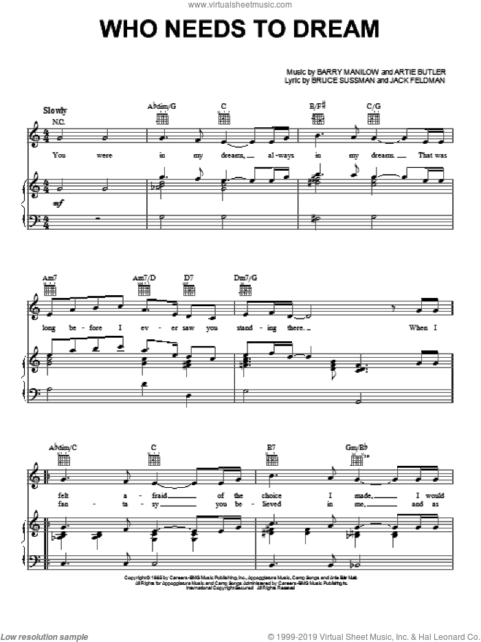 Who Needs To Dream sheet music for voice, piano or guitar by Barry Manilow, Copacabana (Musical), Artie Butler, Bruce Sussman and Jack Feldman, intermediate skill level
