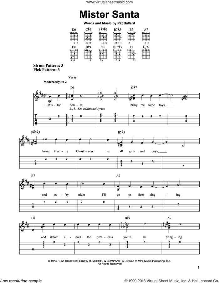 Mister Santa sheet music for guitar solo (easy tablature) by Pat Ballard, easy guitar (easy tablature)