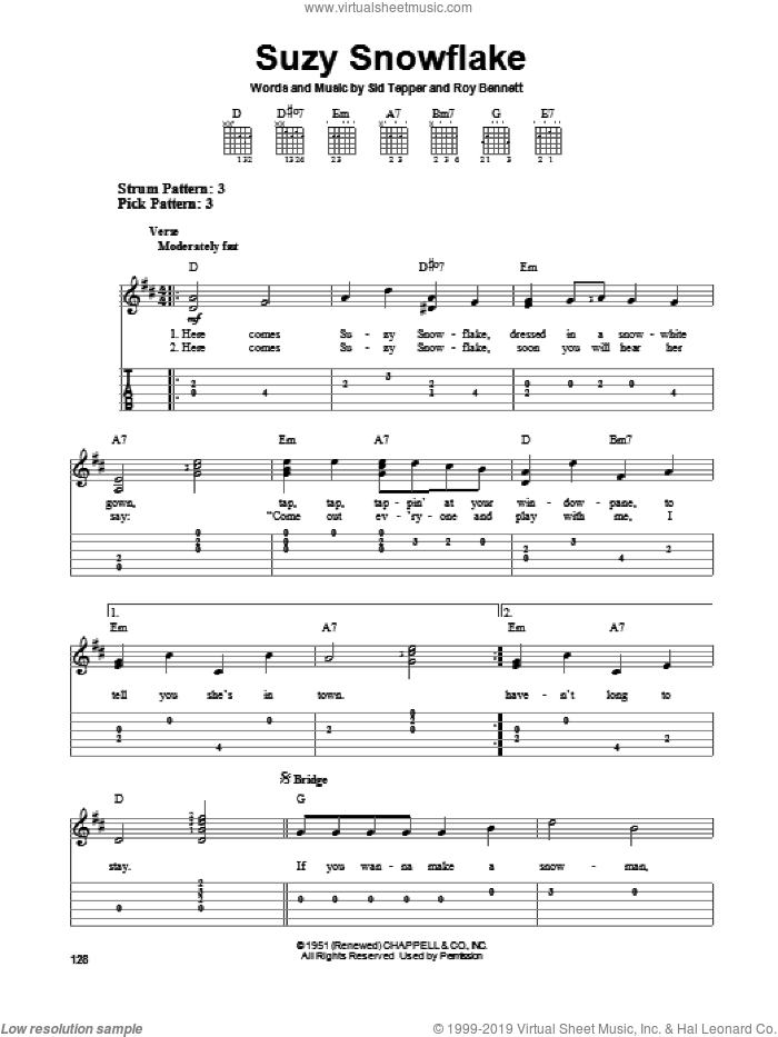 Suzy Snowflake sheet music for guitar solo (easy tablature) by Sid Tepper and Roy Bennett, easy guitar (easy tablature)