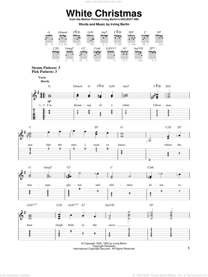 White Christmas, (easy) sheet music for guitar solo (easy tablature) by Irving Berlin, easy guitar (easy tablature)