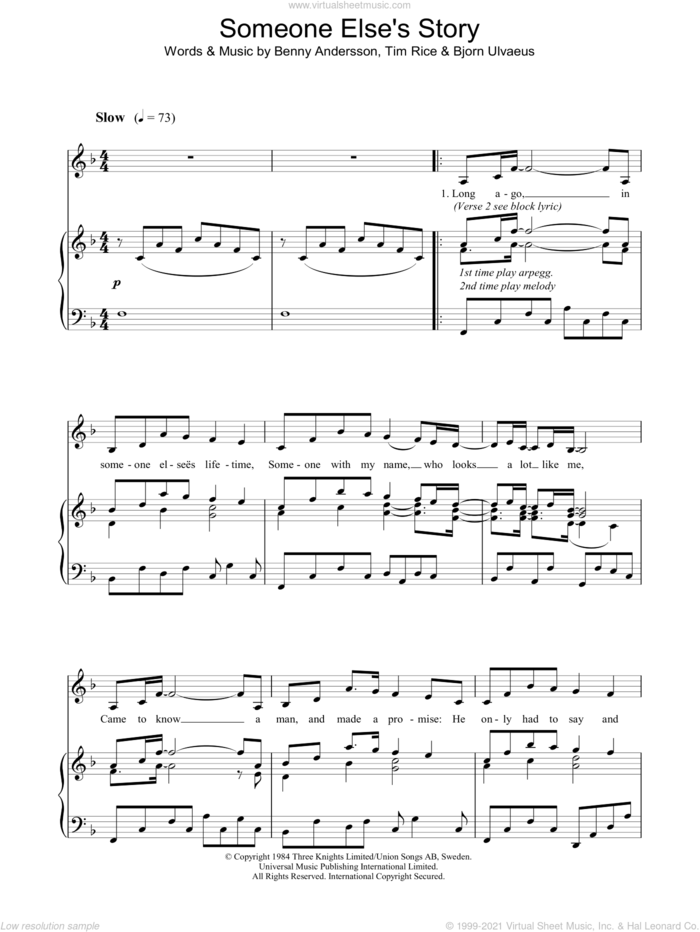 Someone Else's Story sheet music for voice, piano or guitar by Tim Rice, Chess (Musical), Benny Andersson and Bjorn Ulvaeus, intermediate skill level