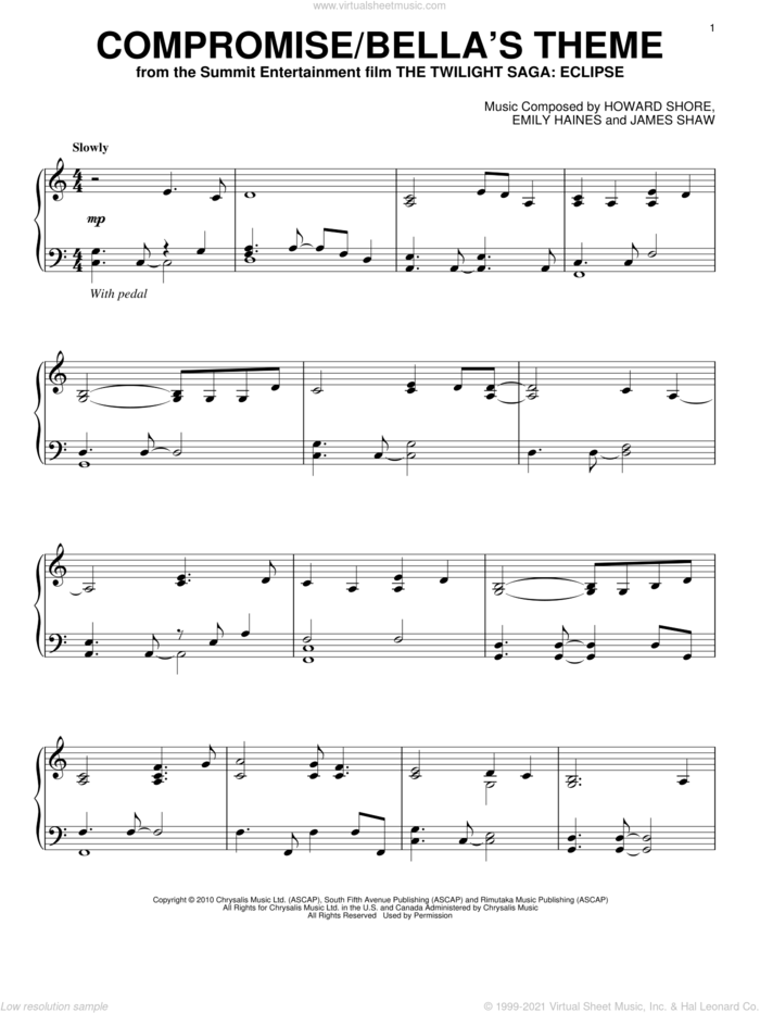 Compromise/Bella's Theme sheet music for piano solo by Howard Shore, Emily Haines, James Shaw and Twilight: Eclipse (Movie), intermediate skill level