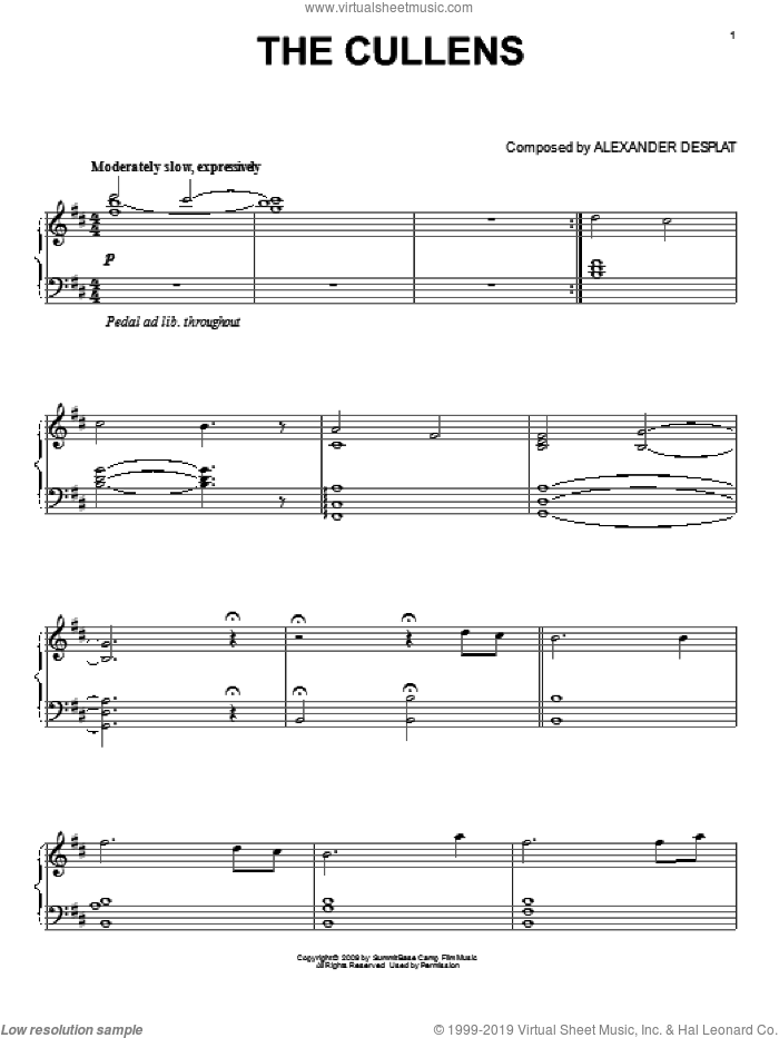 The Cullens (from The Twilight Saga: New Moon) sheet music for piano solo by Alexandre Desplat and Twlight: New Moon (Movie), intermediate skill level