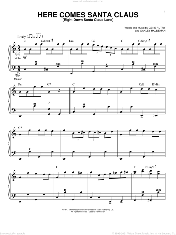 Here Comes Santa Claus (Right Down Santa Claus Lane) sheet music for accordion by Gene Autry, Carpenters and Oakley Haldeman, intermediate skill level