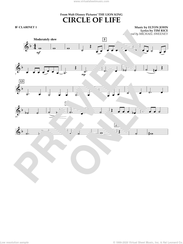 Circle of Life (from The Lion King) sheet music for concert band (Bb clarinet 1) by Elton John, Michael Sweeney and Tim Rice, intermediate skill level