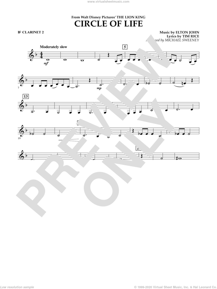 Circle of Life (from The Lion King) sheet music for concert band (Bb clarinet 2) by Elton John, Michael Sweeney and Tim Rice, intermediate skill level