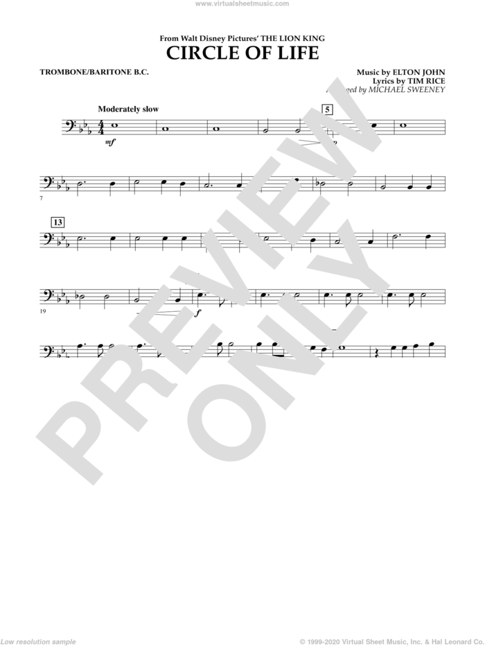 Circle of Life (from The Lion King) sheet music for concert band (trombone/baritone b.c.) by Elton John, Michael Sweeney and Tim Rice, intermediate skill level