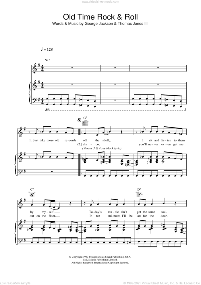 Old Time Rock And Roll sheet music for voice, piano or guitar by Bob Seger, George Jackson, Tom Jones and Thomas Jones III, intermediate skill level