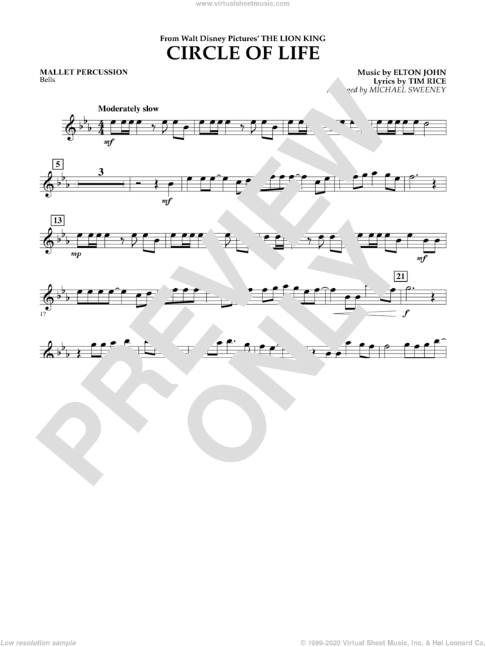 Circle of Life (from The Lion King) sheet music for concert band (mallet percussion) by Elton John, Michael Sweeney and Tim Rice, intermediate skill level