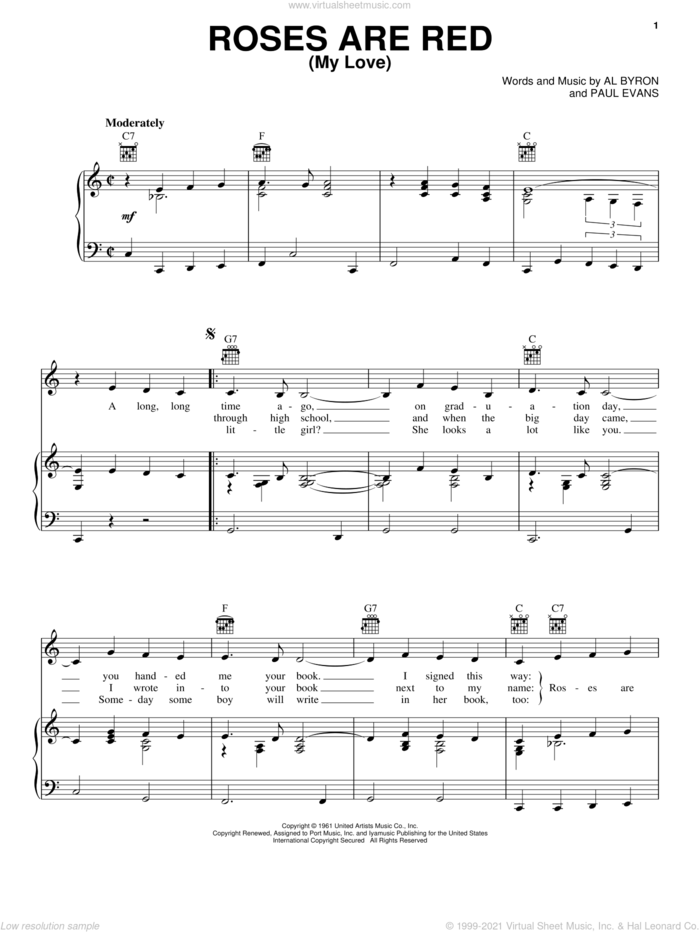 Roses Are Red, My Love sheet music for voice, piano or guitar by Bobby Vinton, Al Byron and Paul Evans, intermediate skill level