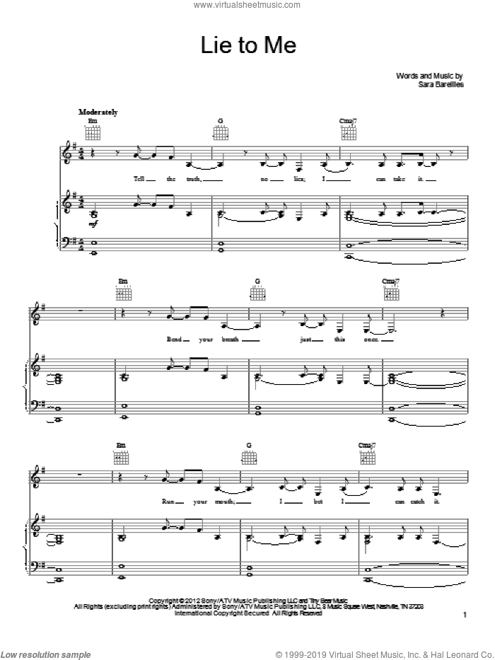Lie To Me sheet music for voice, piano or guitar by Sara Bareilles, intermediate skill level