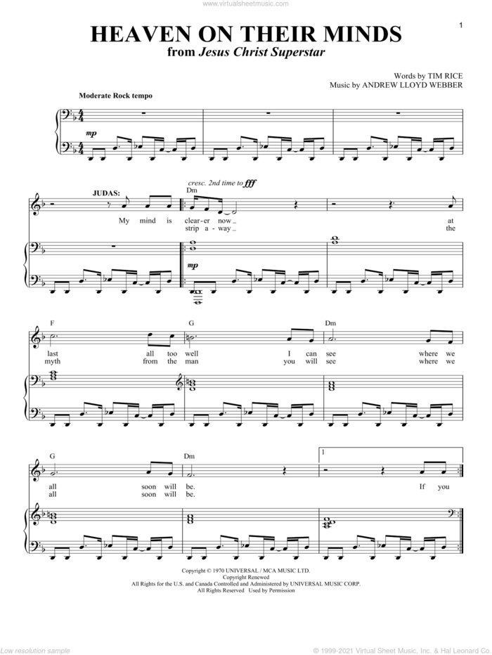 Heaven On Their Minds sheet music for voice and piano by Andrew Lloyd Webber, Jesus Christ Superstar (Musical) and Tim Rice, intermediate skill level