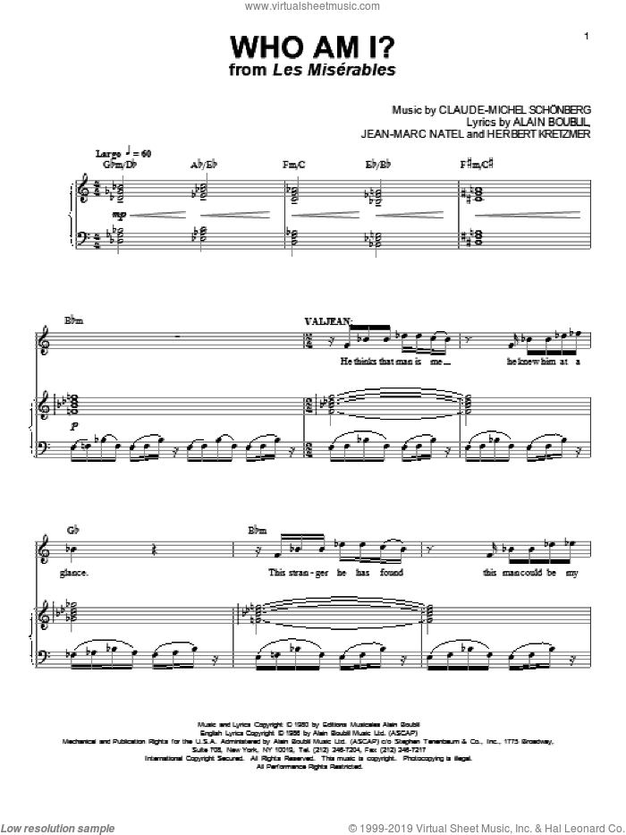 Who Am I? sheet music for voice and piano by Boublil and Schonberg, Les Miserables (Musical), Alain Boublil, Claude-Michel Schonberg, Herbert Kretzmer and Jean-Marc Natel, intermediate skill level