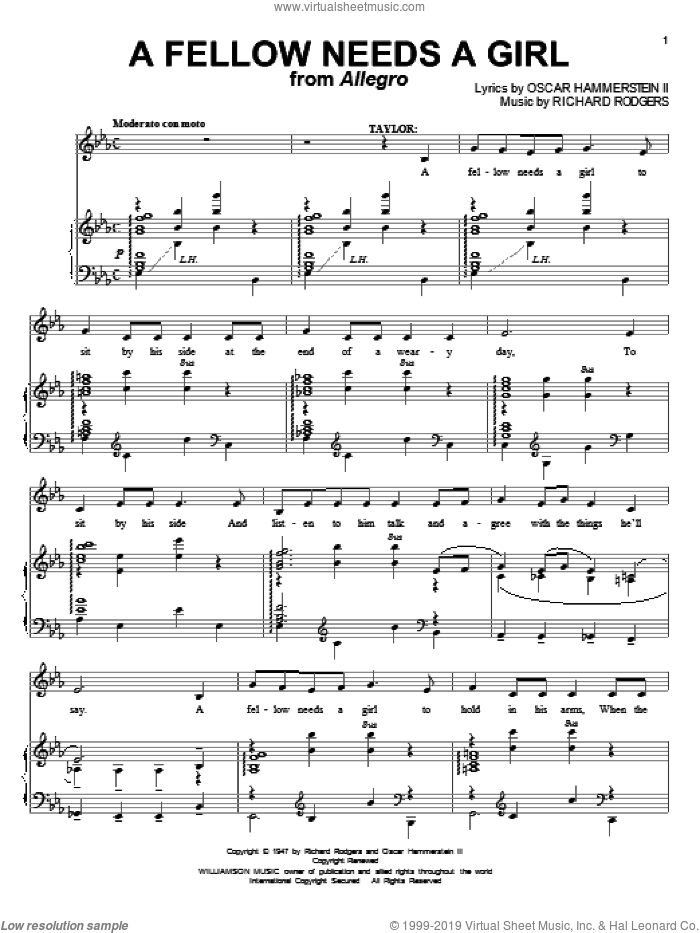 A Fellow Needs A Girl sheet music for voice and piano by Rodgers & Hammerstein, Allegro (Musical), Oscar II Hammerstein and Richard Rodgers, intermediate skill level
