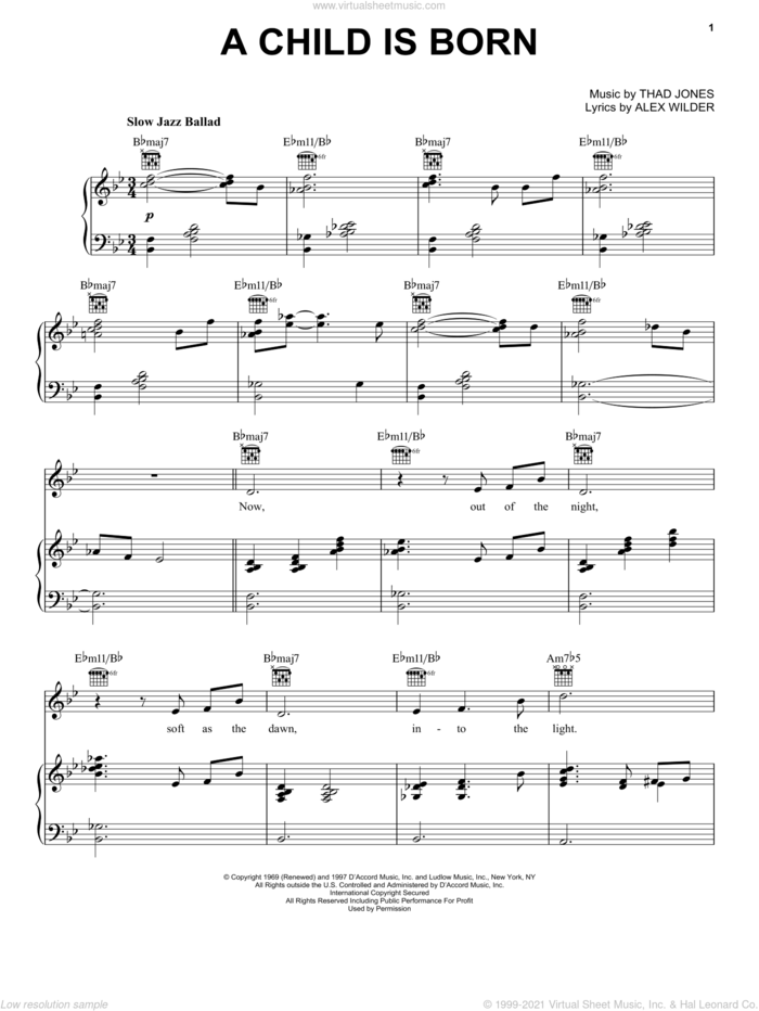 A Child Is Born sheet music for voice, piano or guitar by Thad Jones and Alec Wilder, intermediate skill level