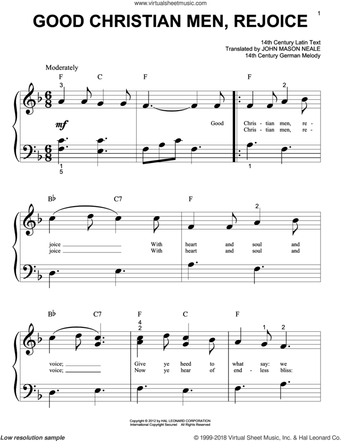 Good Christian Men, Rejoice sheet music for piano solo (big note book) by John Mason Neale, 14th Century German Melody and Miscellaneous, easy piano (big note book)