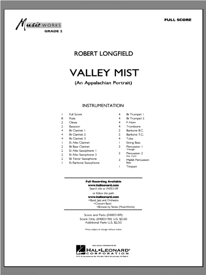 Valley Mist (An Appalachian Portrait) (COMPLETE) sheet music for concert band by Robert Longfield, intermediate skill level
